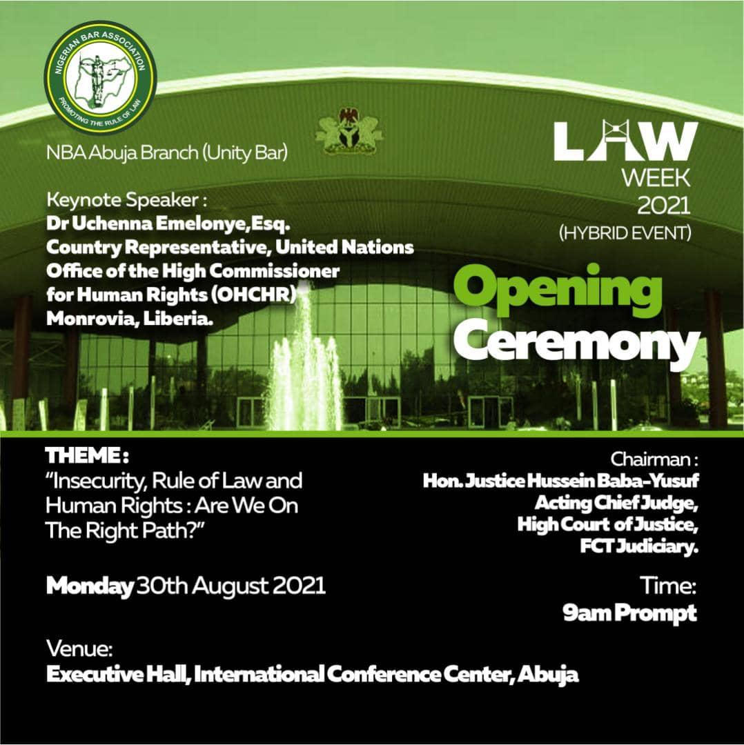 Unity Bar Law Week 2021: Opening Ceremony Holds Tomorrow