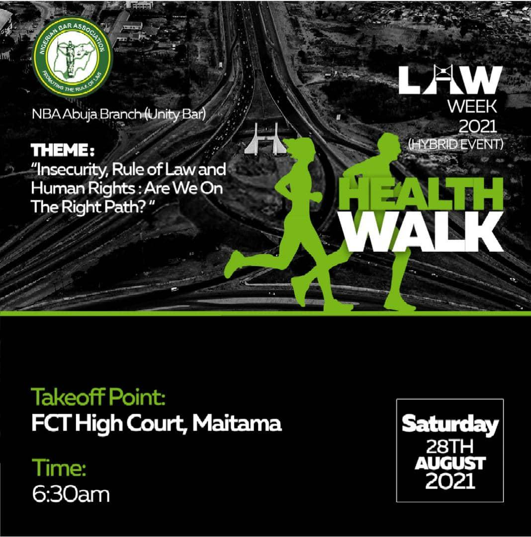Don't Miss Out: NBA Abuja (Unity Bar) Health Walk Holds 28th August