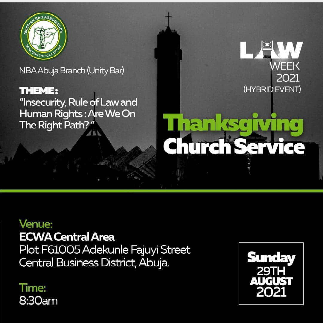Law Week 2021: Thanksgiving Church Service Holds Tomorrow 29 August